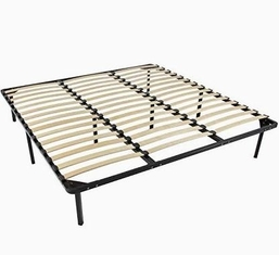 China Carbon Steel Metal Bed Frame With Slats , Simple Double Mattress Frame Bedstead supplier