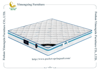 China Comfort Knitted Fabric Innerspring Foam Mattress Full Size Blue And White Color supplier